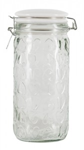 Our Embossed Heart Glass Storage Jar is excellent value at only £7.50!