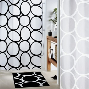 Pebbles Black and White Shower Curtain
